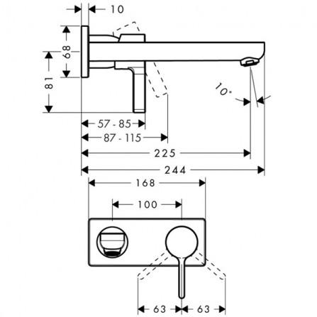 Hansgrohe Metris S Смеситель для раковины на 2 отв, излив 225 мм 31163000