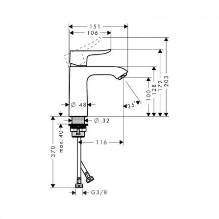 Hansgrohe Metris Low Flow 110 Смеситель для раковины 31204000