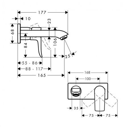 Hansgrohe Metris Low Flow Смеситель для раковины на 2 отв, излив 165 мм 31251000
