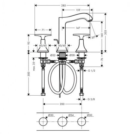 Hansgrohe Metropol Classic Смеситель для раковины на 3 отв 31307000