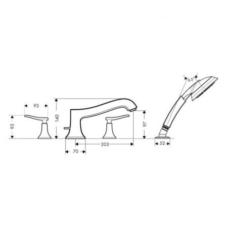 Hansgrohe Metris Classic Смеситель для ванны на 4 отв 31314000