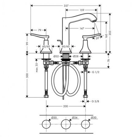 Hansgrohe Metropol Classic Смеситель для раковины на 3 отв 31331000