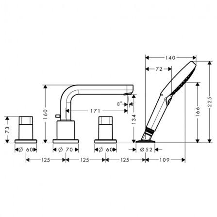 Hansgrohe Metris S Смеситель для ванны на 4 отв 31443000