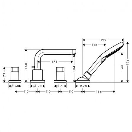 Hansgrohe Metris S Смеситель для ванны на 4 отв 31446000