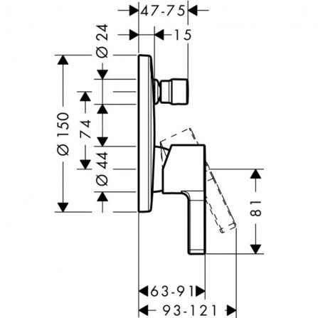 Hansgrohe Metris S Смеситель для ванны, СМ 31466000