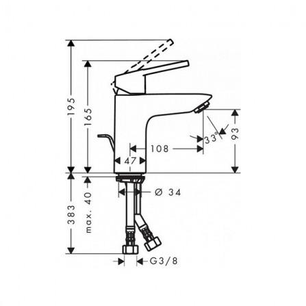 Hansgrohe Novus Loop Смеситель для раковины 71081000