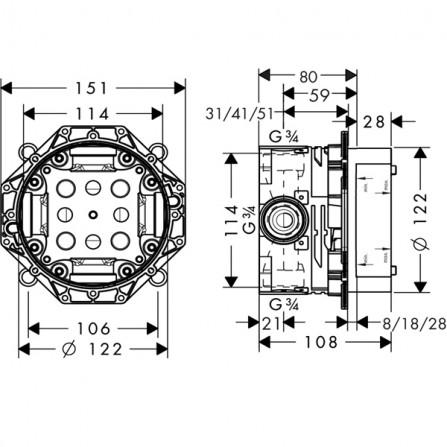Hansgrohe iBox universal Механизм 01800180