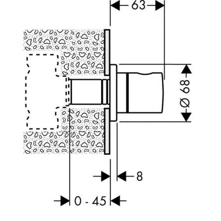 Hansgrohe S Запорный вентиль, панель, СМ 15972000