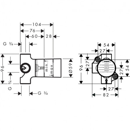 Hansgrohe Trio Universal Запорный вентиль, механизм, СМ 15981180
