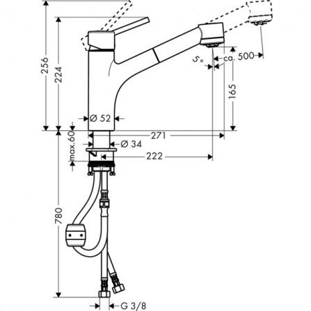 Hansgrohe Talis S 170 Смеситель для кухни, выдвижной излив 32841000