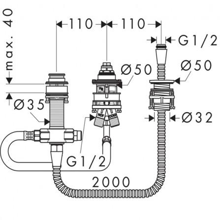 Hansgrohe Механизм  Смеситель для ванны на 3 отверстия, СМ 13439180