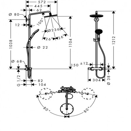 Hansgrohe Raindance Select S 240 Душевая система для душа 27115000