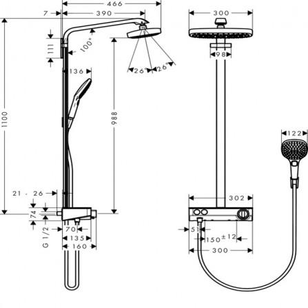 Hansgrohe Raindance Select E 300 2jet Showerpipe Душевая система для душа 27126000