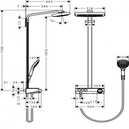 Hansgrohe Raindance Select E 300 3jet Showerpipe Душевая система для душа 27127400