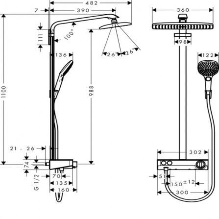 Hansgrohe Raindance Select E 360 1jet ST Showerpipe Душевая система для душа 27288000