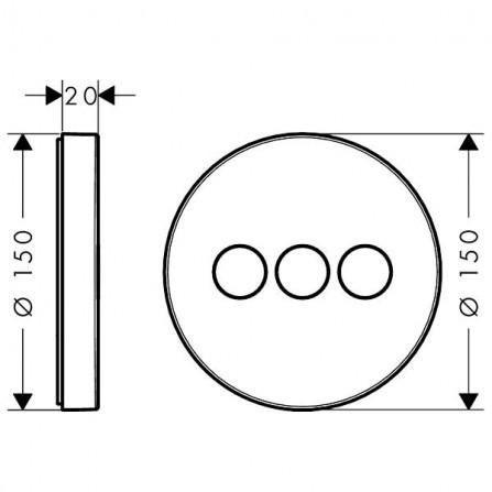 Hansgrohe ShowerSelect S Запорный вентиль, панель, СМ 15745000