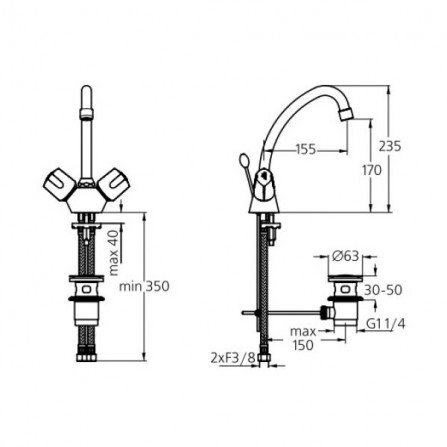 Ideal Standard Euroflow Смеситель для раковины B1893AA