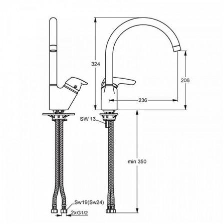 Ideal Standard Cerasprint Смеситель для кухни высокий излив B7473AA