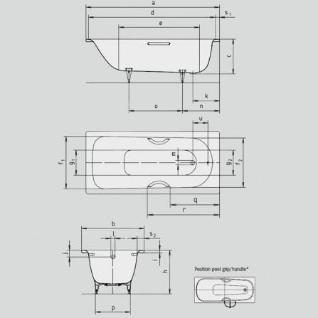 Kaldewei Saniform Plus 373-1 Ванна 1700x750 мм 112600010001