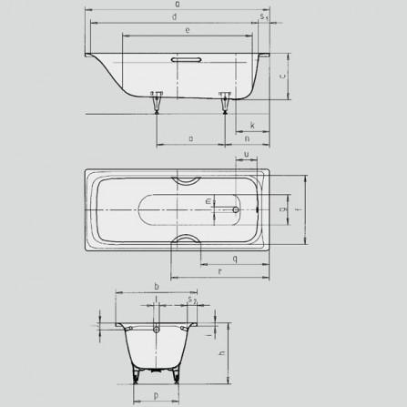 Kaldewei Sanilux Star 343 Ванна с ручками 587670000999 1700x750 мм 113300010001