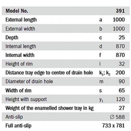 Kaldewei Superplan 391-2 Поддон 1000x1000 мм 447035000001