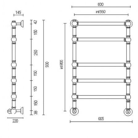 Margaroli Armonia 9-464-5 Полотенцесушитель водяной 930х600 мм 94645505CRN