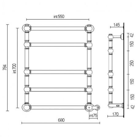 Margaroli Armonia 9-564 Box Полотенцесушитель электрический 784х600 мм 95645505CNB