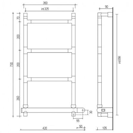 Margaroli Sereno 582 Box Полотенцесушитель электрический 730х350 мм 5823204CRNB