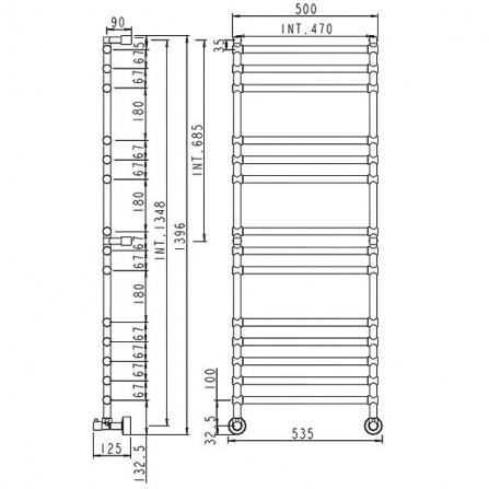 Margaroli Sole 464-14 Полотенцесушитель водяной 1396х500 мм 4644714CRN