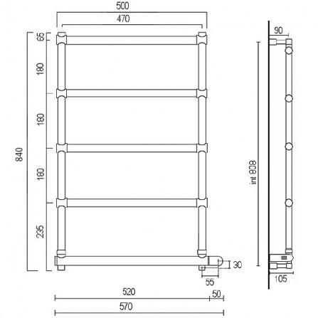 Margaroli Sole 542-5 Box Полотенцесушитель электрический 840х500 мм 5424705CRNB