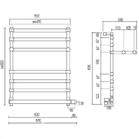Margaroli Sole 552 Box Полотенцесушитель электрический 635х500 мм 5524706CRPB