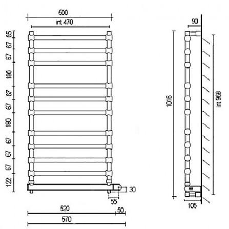 Margaroli Sole 564-11 Box Полотенцесушитель электрический 1016х500 мм 5644711CRNB