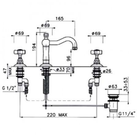 Nicolazzi Dames Anglaises Смеситель для раковины на 3 отверстия хром 1409CR78
