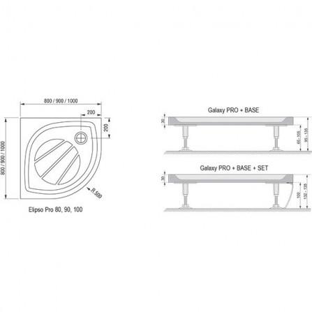 Ravak Elipso Pro-100 Поддон 100х100 XA23AA01010