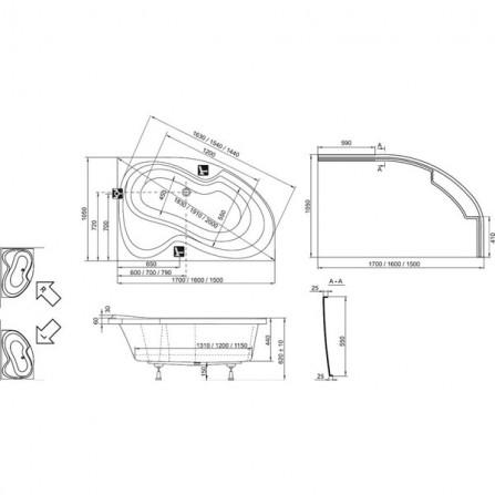 Ravak Rosa II 150 R Ванна 150х105 CJ21000000