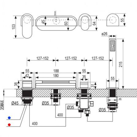 Ravak Chrome Смеситель для ванны на 4 отверстия CR 025.00