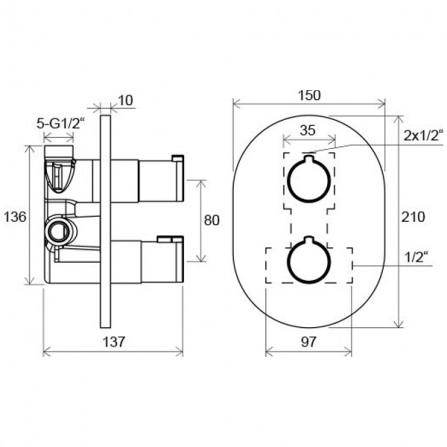 Ravak Chrome Термостат для ванны, СМ CR 063.00