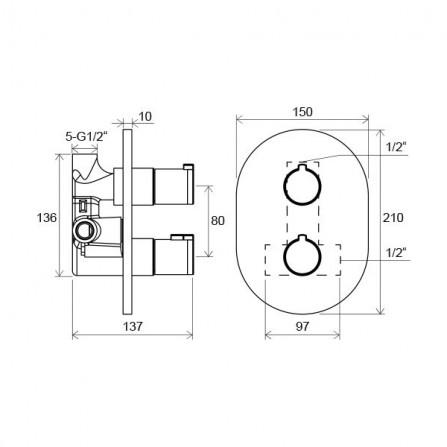 Ravak Chrome Термостат, 1 потребитель, комплект, СМ CR 064.00