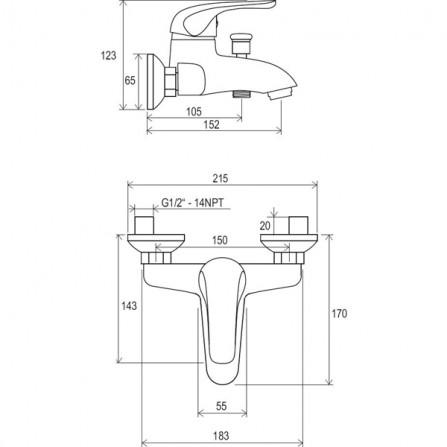 Ravak Rosa Смеситель для ванны RS 022.00/150