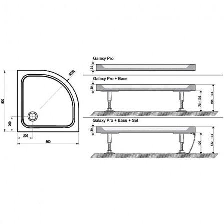 Ravak Elipso Pro-80 Chrome Поддон 80х80 XA244401010