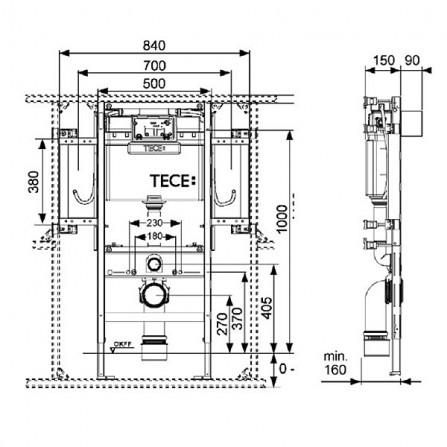 Tece Инсталляция для унитаза H112 см 9300009