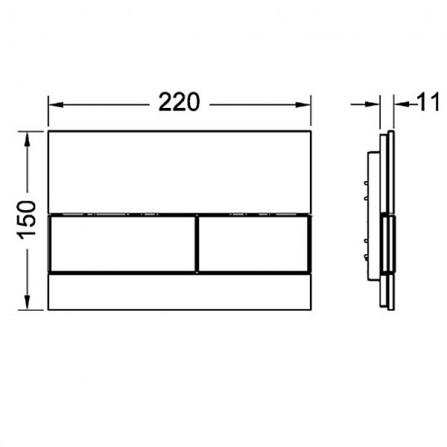 TECEsquare Панель смыва с двумя клавишами 9 240 802