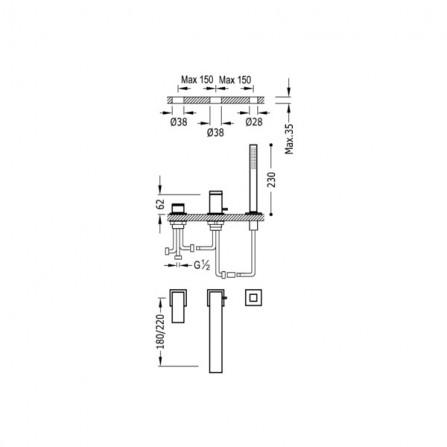 Tres Cuadro Смеситель для ванны на 3 отв 00616105