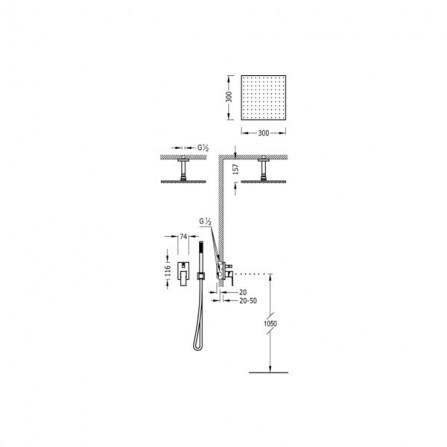 Tres Cuadro Душевой комплект, СМ Смеситель, 2 потребителя, верхний и ручной души 00618080