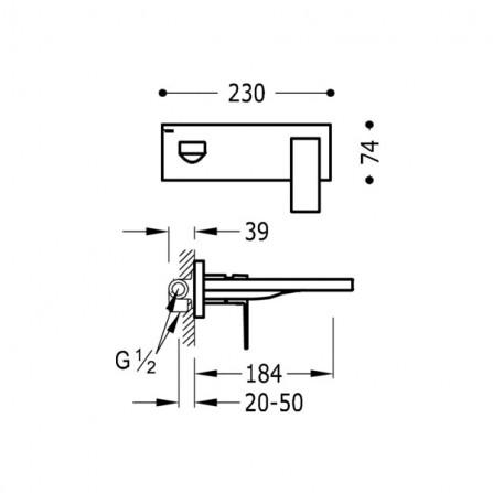 Tres Cuadro Смеситель для раковины на 2 отв, излив 185 мм 00620003
