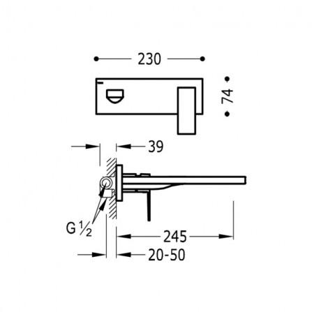 Tres Cuadro Смеситель для раковины на 2 отв, излив 245 мм 00620004