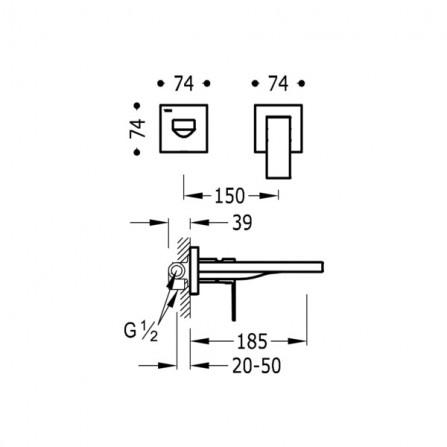Tres Cuadro Смеситель для раковины на 2 отв, излив 185 мм 00620012