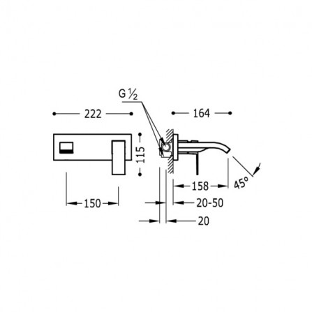 Tres Cuadro Смеситель для раковины на 2 отв, каскад, излив 158 мм 00626001