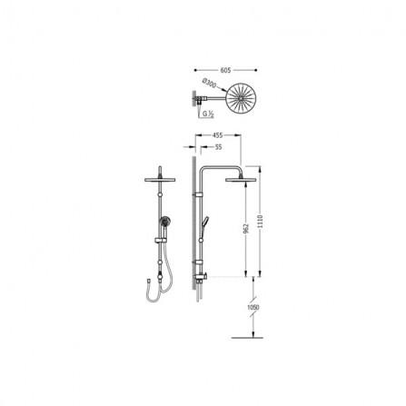 Tres Душевая система с переключателем 06163507