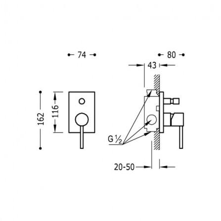 Tres Max Смеситель для ванны, СМ 06218002